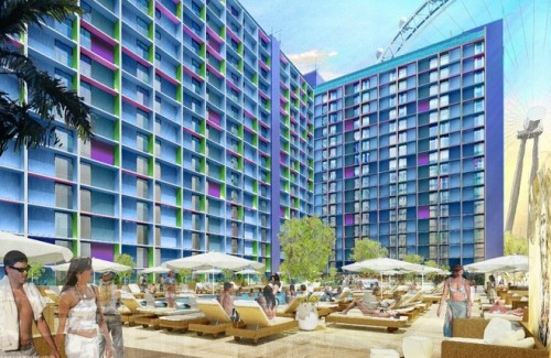 A rendering of the exterior of The LINQ Hotel & Casino