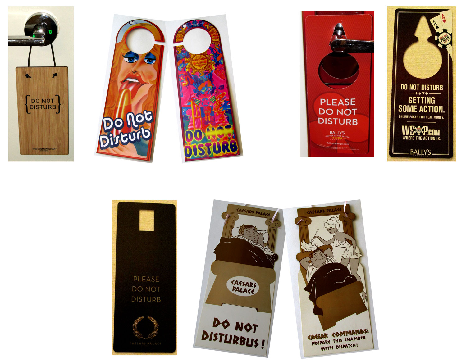 Do Not Disturb signs for The Cosmopolitan of Las Vegas, Bally's and Caesars Palace