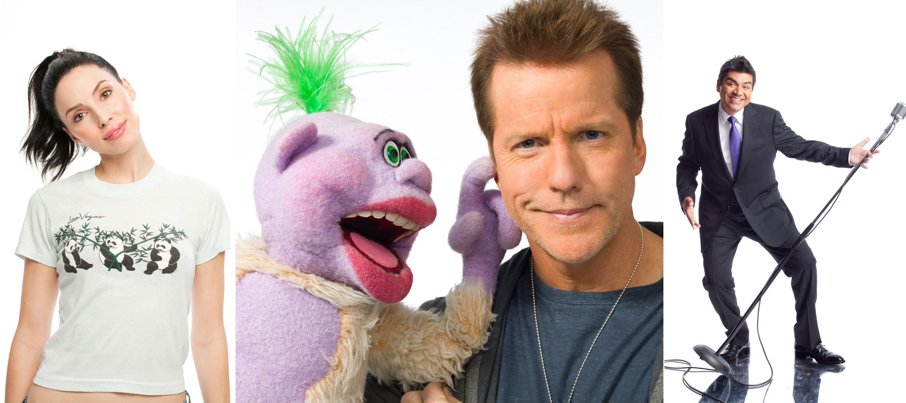 From left: Whitney Cummings, Jeff Dunham with Peanut and George Lopez