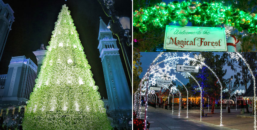 Clockwise: The spectular tree in front of The Venetian and decorations at Opportunity Village's Magical Forest