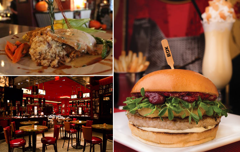 Clockwise: Hash House A Go Go's roasted turkey breast, KGB's Thanksgiving turkey burger and the dining room at Strip House
