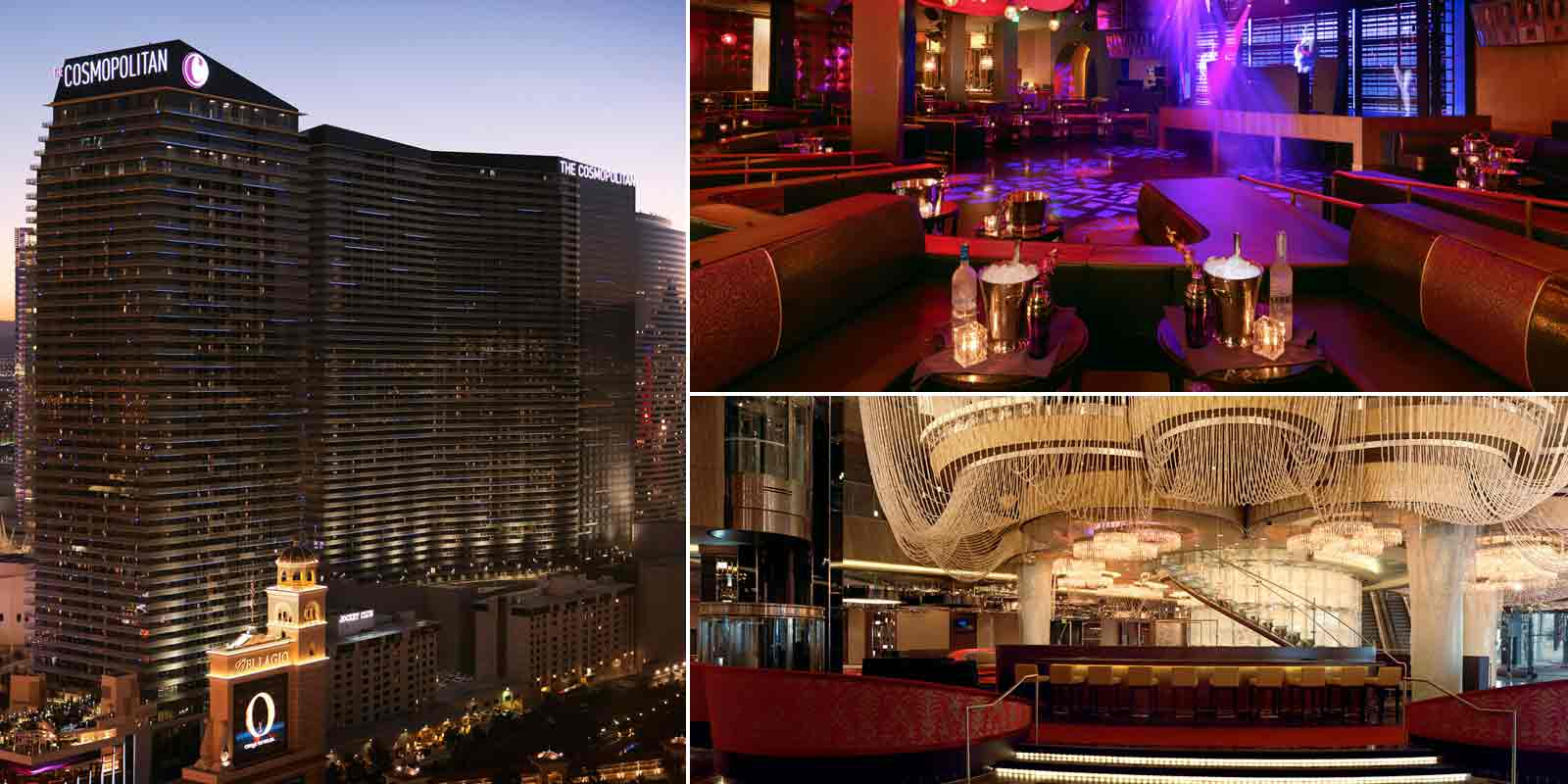 Clockwise: The Cosmopolitan of Las Vegas, Marquee Nightclub and The Chandelier
