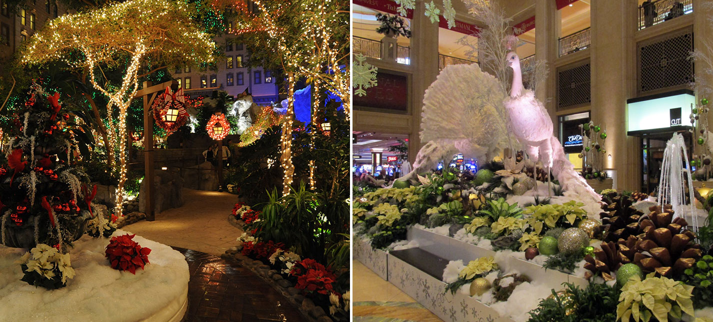 From left: Mystic Falls Park at Sam's Town and The Palazzo's Waterfall Atrium