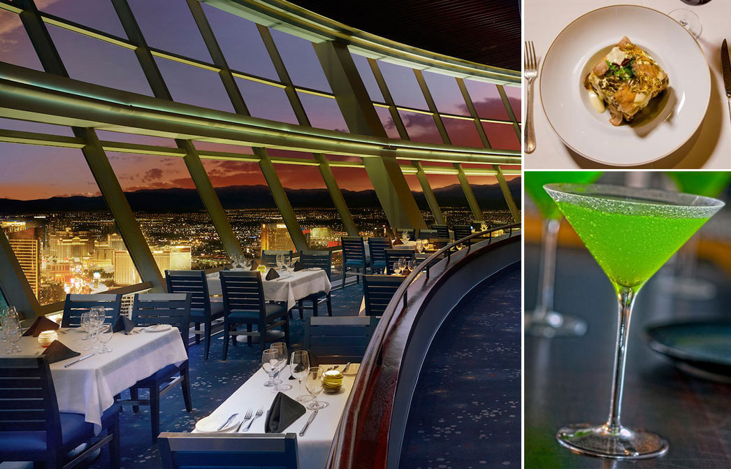 Clockwise from left: Top of the World restaurant at Stratosphere, the Diamond and Gold Lasagna at Portofino and a Wasabi Martini from Rice & Company