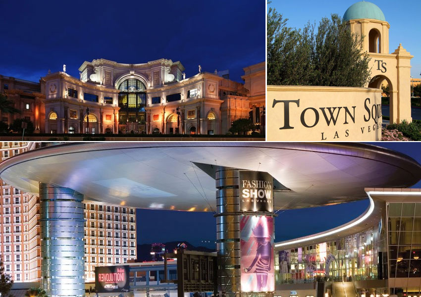 Clockwise from top: The Forum Shops at Caesars, Town Square Las Vegas and Fashion Show