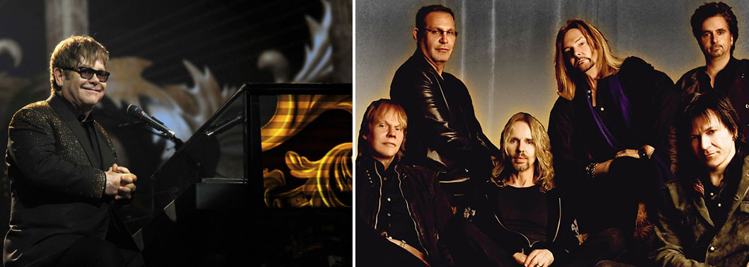 Both Elton John (left) and the band Styx (right) are performing in Vegas this weekend.