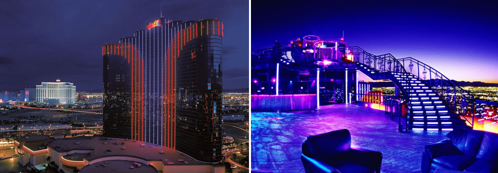 An exterior view of the Rio All-Suite Hotel & Casino (left) and the patio at VooDoo Rooftop Nightclub