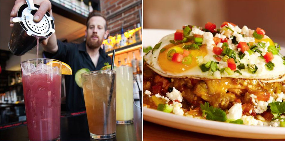 Tom's Urban is known for playful handcrafted cocktails (left) and dishes like the Hangover Slopper (right)