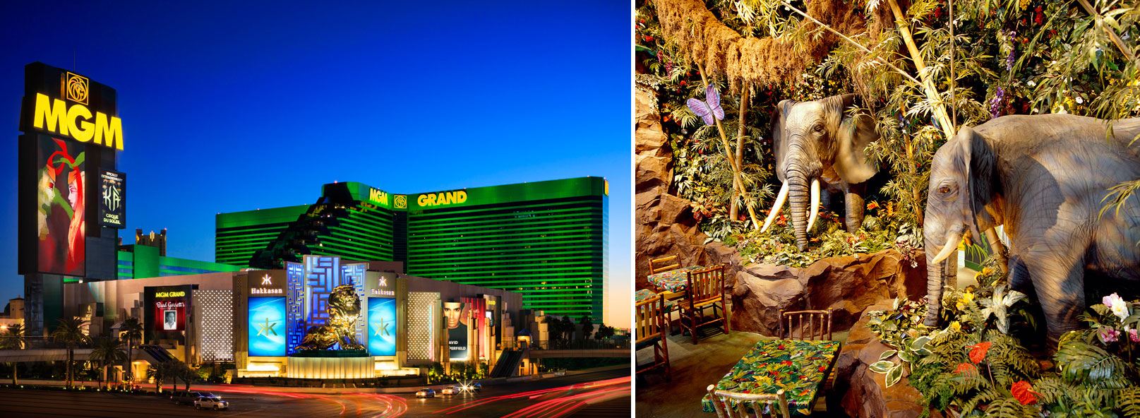 MGM Grand exterior and Rainforest Cafe