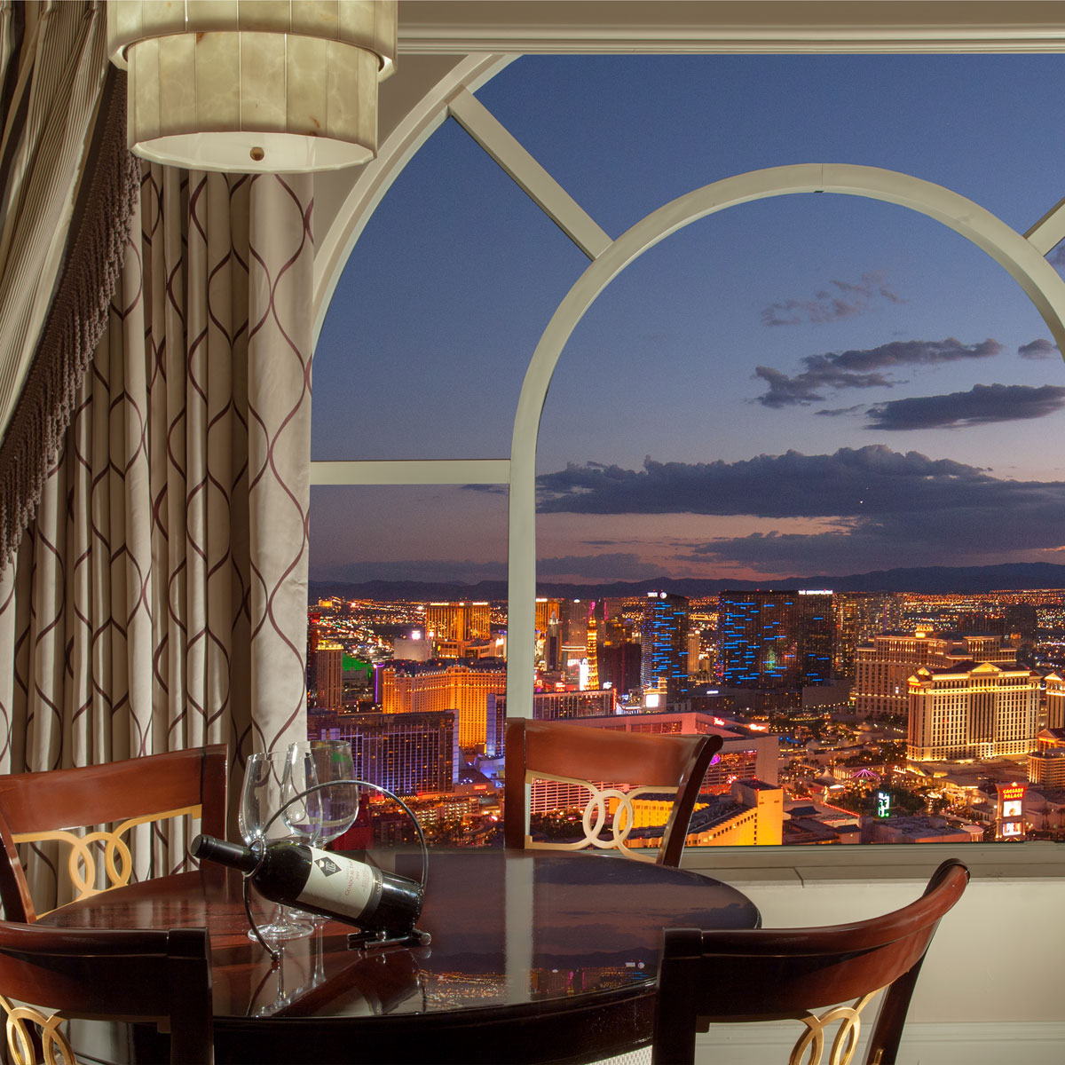 view of the Las Vegas Strip from the Luxury Suites dramatic window