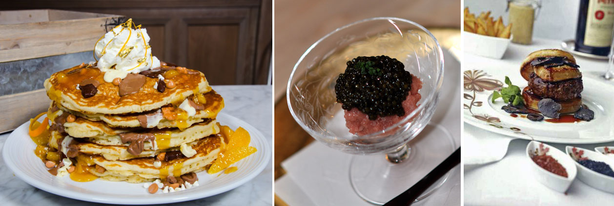 From left: The Golden Jackpot Pancakes at Pantry, the Toro Tartare Caviar at barMASA and the FleurBurger 5000 at Fleur.