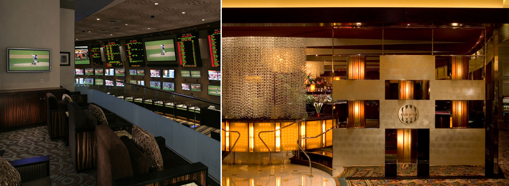 From left: A view from a skybox at MGM Grand Race & Sportsbook and the entrance to Club Prive