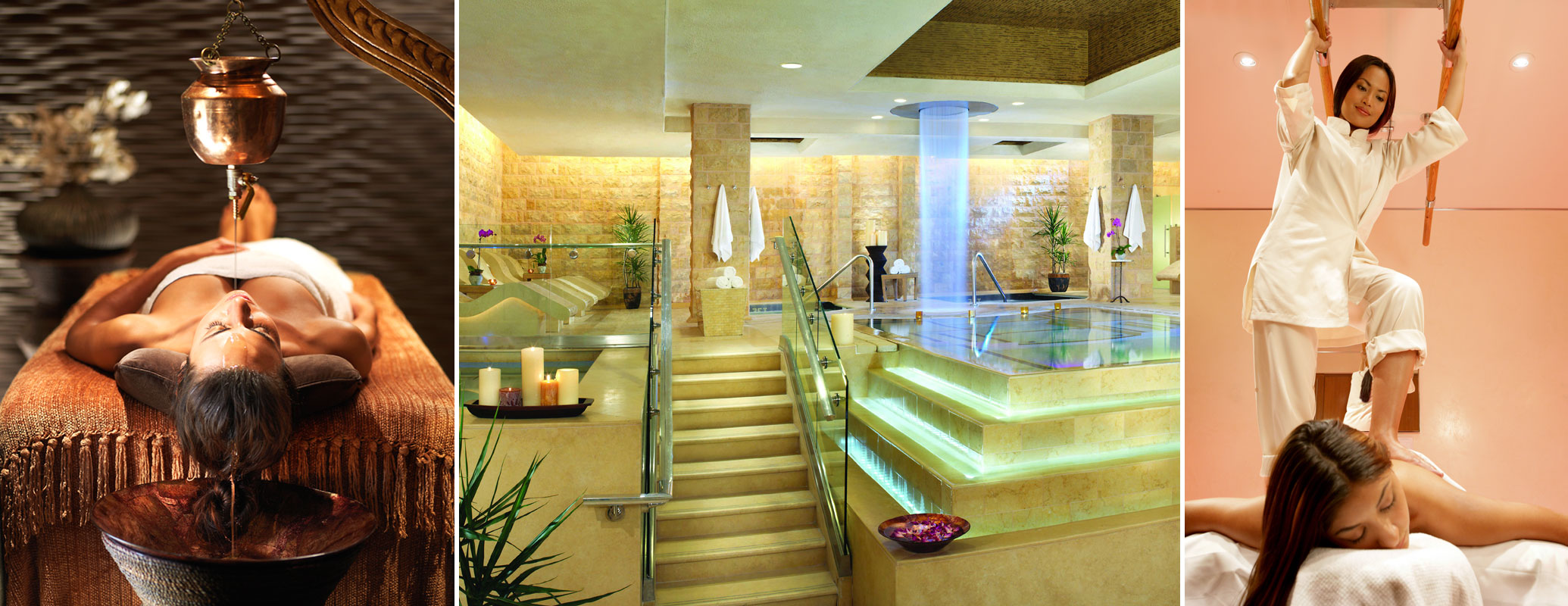 From left: Shirodhara and the Rom baths at Qua Baths & Spa, alng with Asiastu Oriental Bar Thearapy at Spa Bellagio.