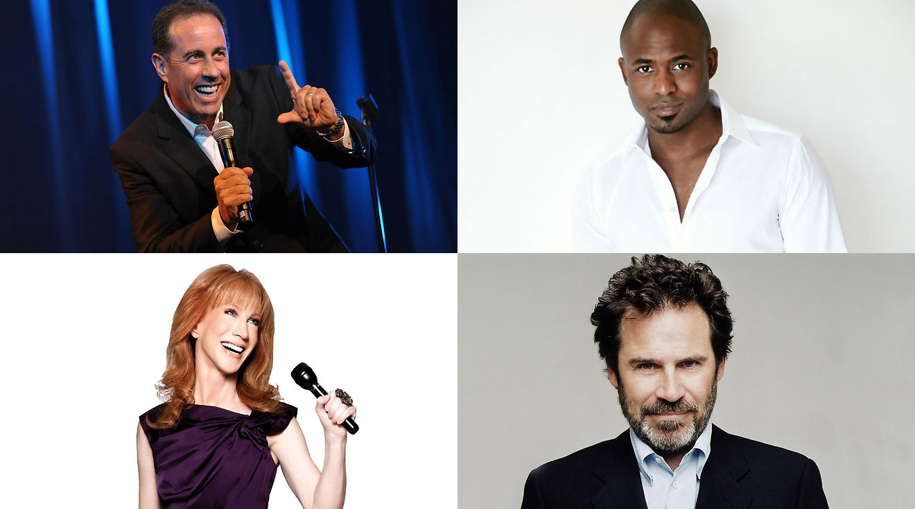 Clockwise from top: Jerry Seinfeld, Wayne Brady, Dennis Miller and Kathy Griffin
