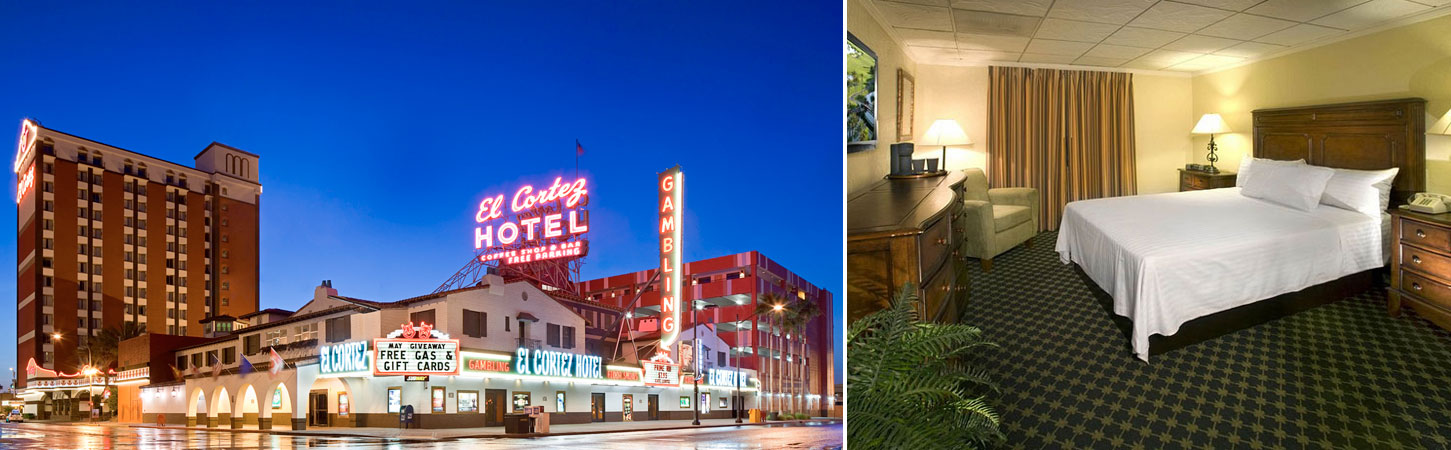 Views of El Cortez's exterior and a vintage king room