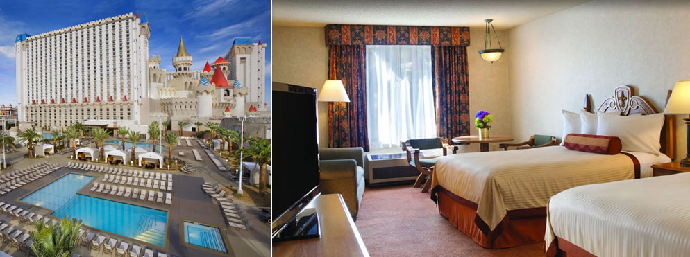 Views of the Excalibur's exterior and a tower king room