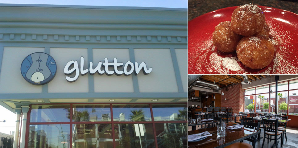 Clockwise from left: The exterior of Glutton, the rice arancini and a view of the dining room