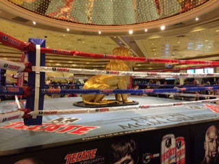The lobby at MGM Grand is decorated  for fight fans (photo by Miranda Boyd)