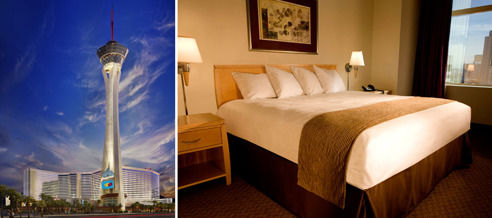 Views of Stratosphere's exterior and a standard king room