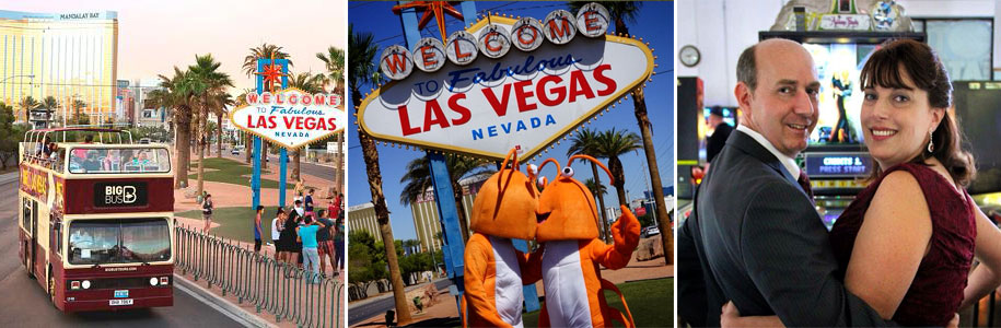 Anything goes with Las Vegas Wedding Wagon – including weddings on open-top, double-decker buses, dressed up as lobsters or at the Pinball Hall of Fame. Photos courtesy of Las Vegas Wedding Wagon.