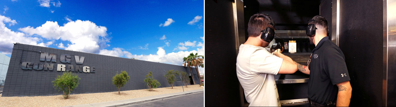 Machine Gun Las Vegas (left) offers a high-tech firearms experience (right) with an ultra lounge vibe.