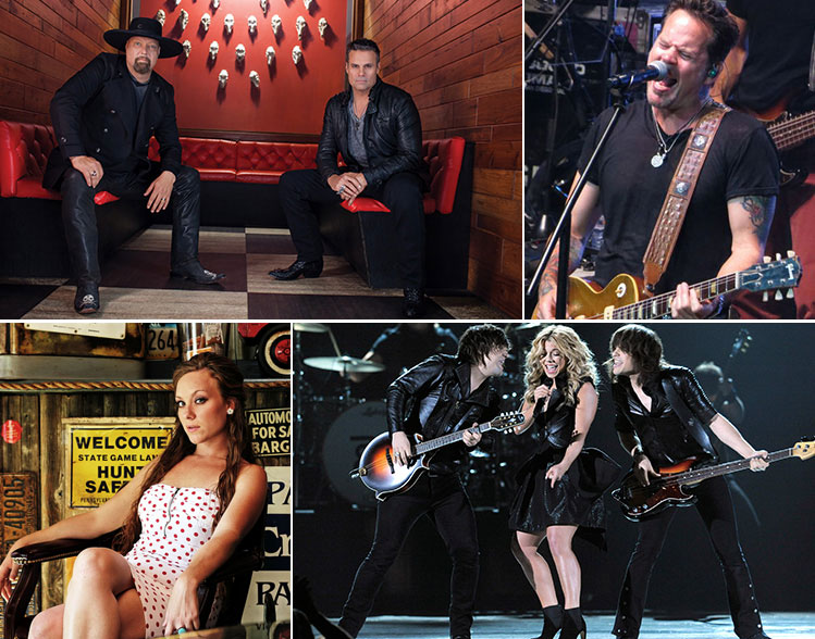 PBR's Cowboy Spring Break is bringing a country superstars and up-and-comers to Vegas this weekend including (clockwise from top): Mongomery Gentry, Gary Allan, The Band Perry and Tarra Layne.
