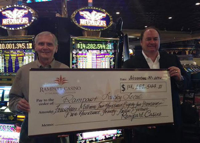 Photo of lucky winner courtesy Rampart Casino.