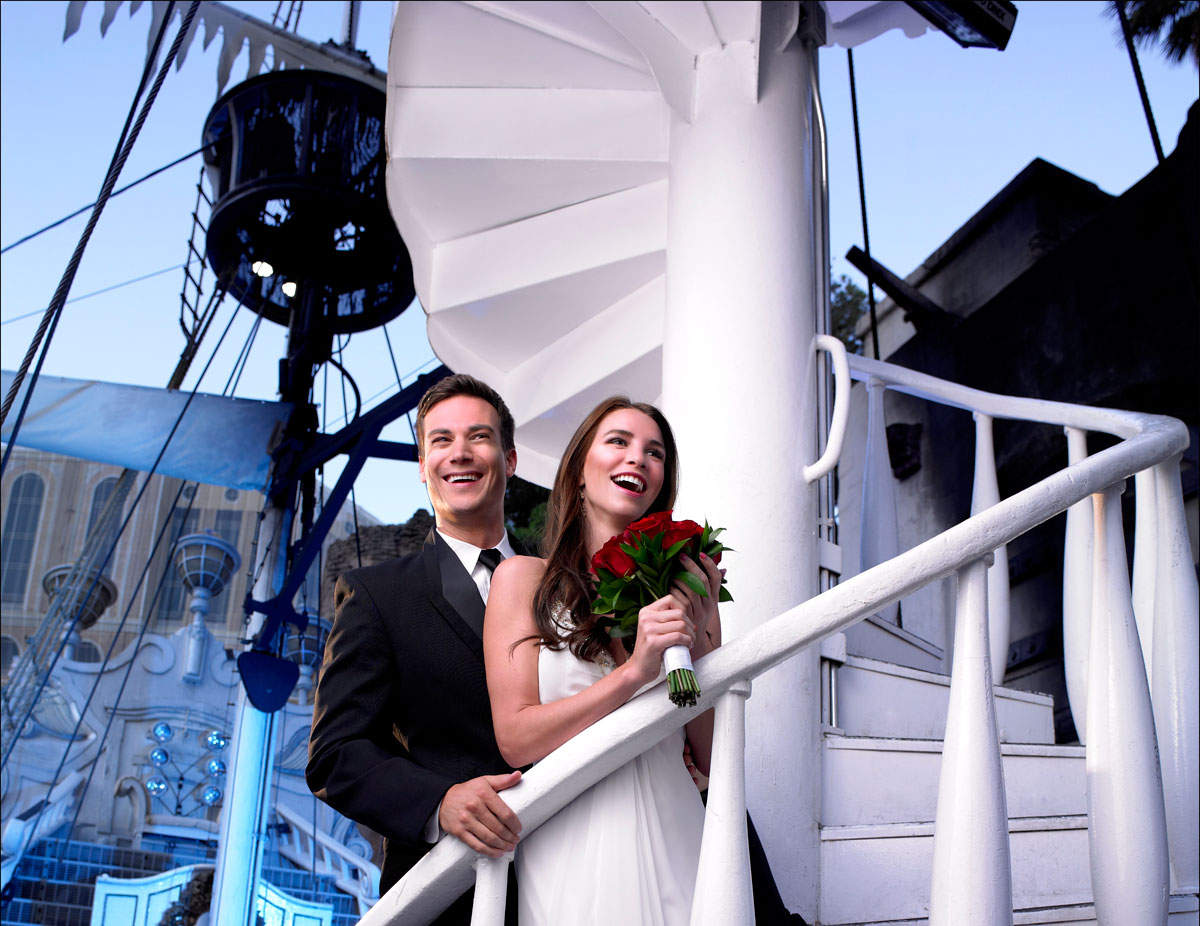 What could be more offbeat than a wedding held onboard a ship docked on the Las Vegas Strip? This couple got married on the Song Ship in front of Treasure Island. Photo courtesy of Treasure Island.