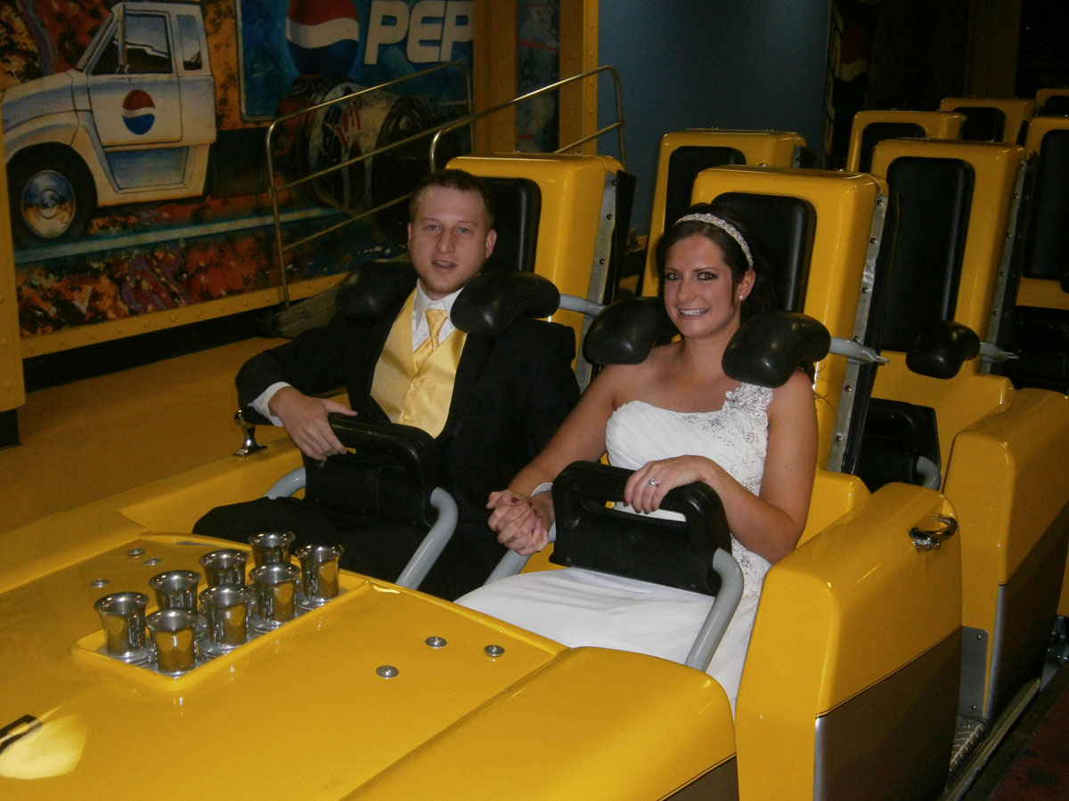 A newly married couple are about to have the ride of their lives on Big Apple Coaster at New York-New York. Photo courtesy of MGM Grand Resorts.