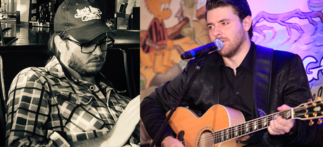 "Left: Lee Brice looking all hot and pensive. Right: Chris Young looking like he's saying to Brice, ""Whatcha writing 'bout?"" Photos courtesy of Lee Brice and Chris Young."