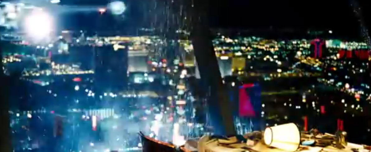 "Screenshot of the Top of World restaurant on Stratosphere Tower getting shot up from the ""Domino"" trailer, courtesy of New Line Cinema."