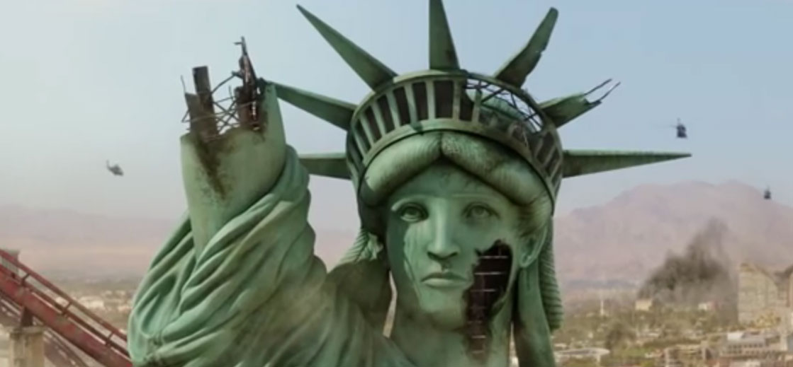 "Screenshot of the crumbling Statue of Liberty in front of New York-New York from the ""Godzilla"" trailer, courtesy of Legendary."