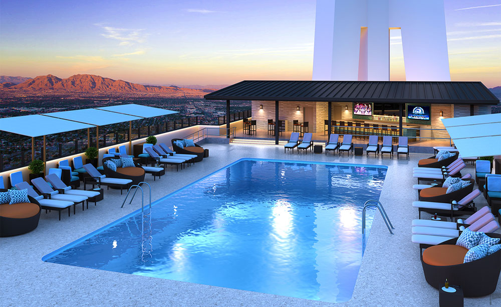 The elevated Radius° Rooftop Pool & Wet Lounge is among Vegas' daytime and nighttime hotspots