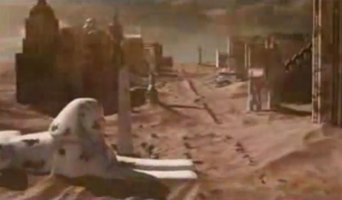 "Screenshot of the Strip in ruins and amid dust storms from the ""Resident Evil: Extinction"" trailer, courtesy of Sony Pictures."