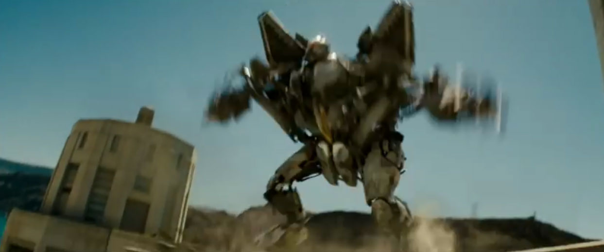 "Screenshot of Starscream attacking Hoover Dam from the ""Transformers"" trailer, courtesy of DreamWorks and Paramount Pictures."