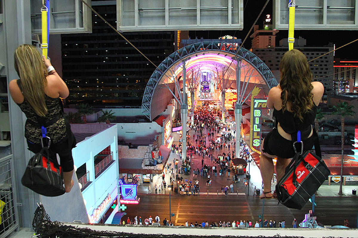 SlotZilla is a zip line attraction at Fremont Street Experience in downtown Las Vegas.SlotZilla, shaped like a giant slot machine, has two take-off levels.Riders take a thrilling ride down Fremont Street under the massive Viva Vision video screen, with free nightly shows.4,5/5(2,5K).