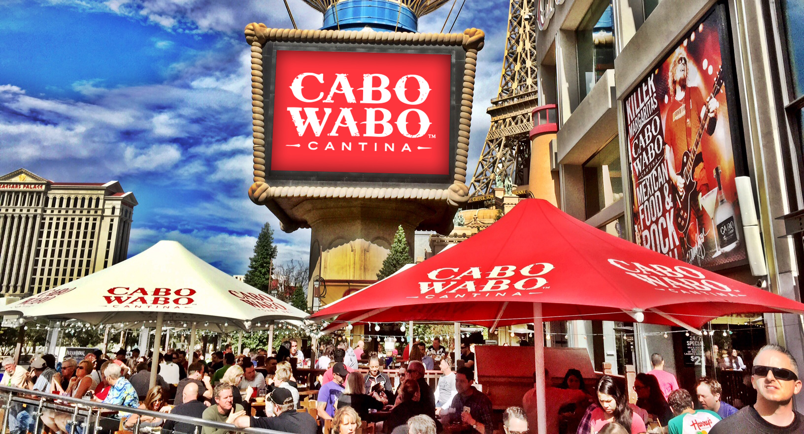 Sun and suds, and sometimes clouds and suds, rarely rain and suds, are on the patio at Cabo Wabo. Photo courtesy of Cabo Wabo Cantina.