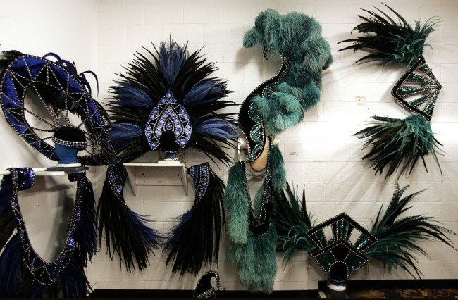"LAS VEGAS - MONDAY, JULY 27, 2009 - Various feathered headpieces are hung up during a backstage tour of the ""Jubilee!"" set and dressing rooms at Bally's in Las Vegas Monday, July 27, 2009. LEILA NAVIDI / LAS VEGAS SUN"