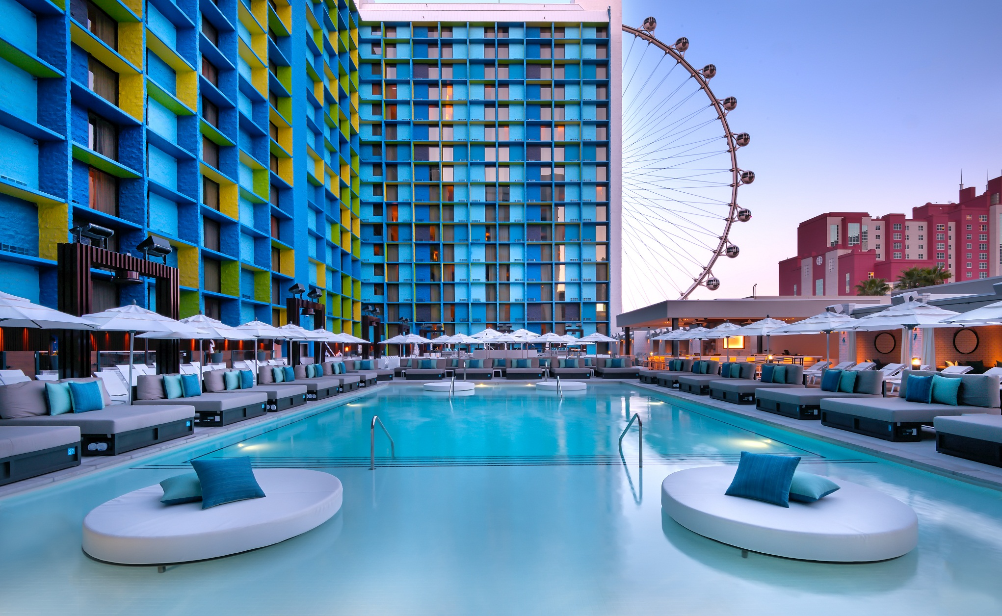 The LINQ Pool. Like this but covered in ping pong balls. Photo courtesy of the LINQ Hotel and Casino.