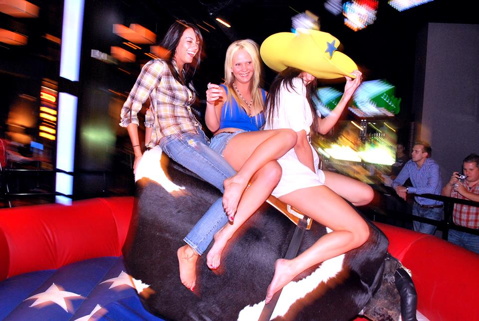 Nope. Not karaoke, but it's the next best thing. Note, mechanical bulls are not lulled into submission by beautiful songs. We tried. Photo courtesy of PBR Rock Bar.
