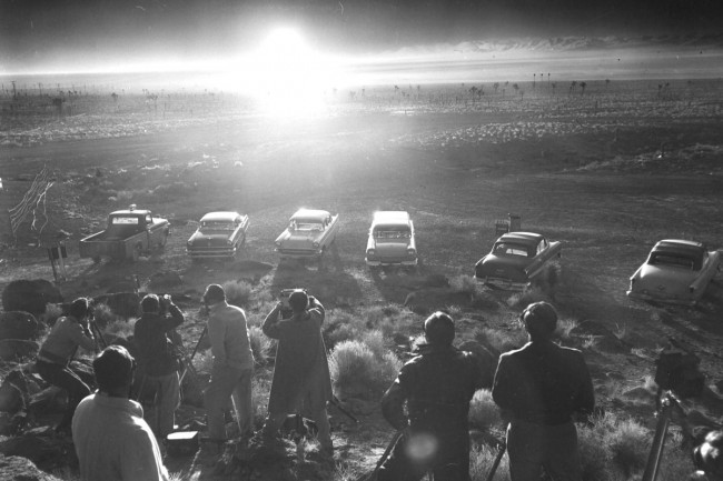 Photographers and reporters gather near Frenchman Flat to observe the Priscilla nuclear test, June 24, 1957. Photo courtesy of Las Vegas News Bureau
