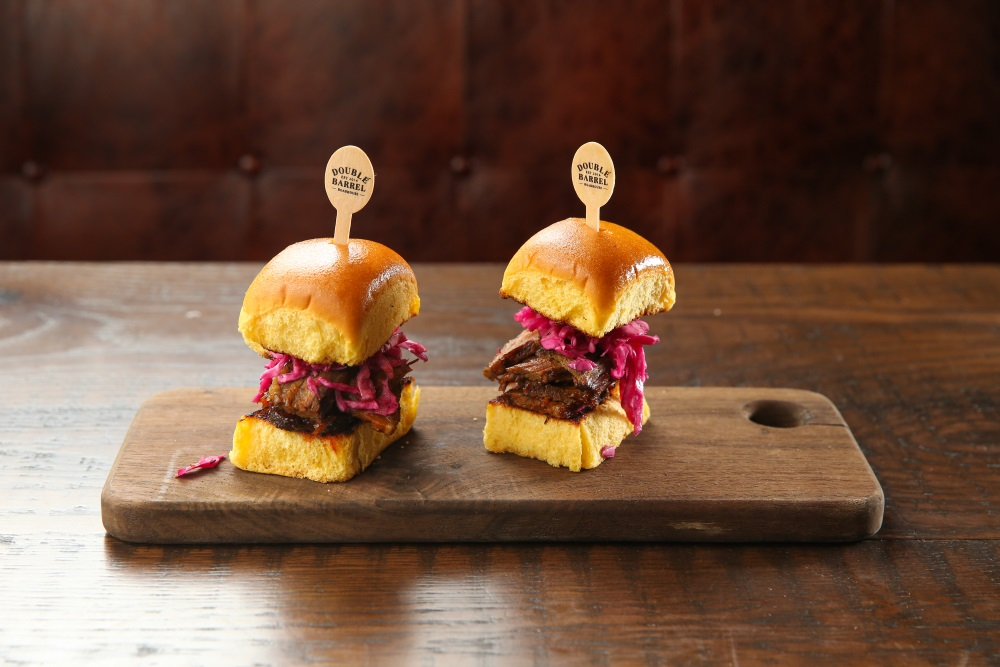 Double Barrel's barbecued brisket sliders, photo courtesy of Double Barrel