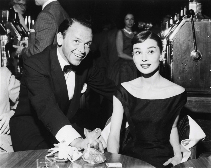 March 30th, 1956. Frank Sinatra and Audrey Hepburn at the Sands.