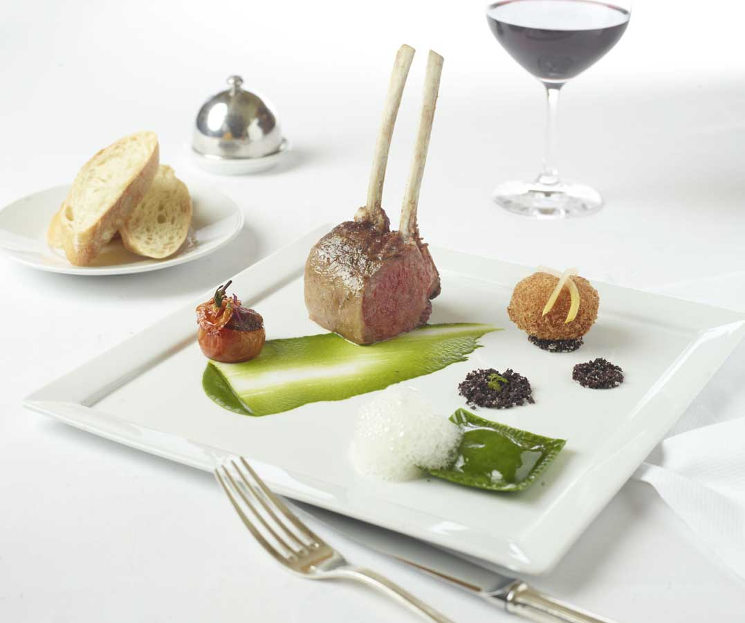 Rack of lamb at Aureole, photo courtesy of Aureole