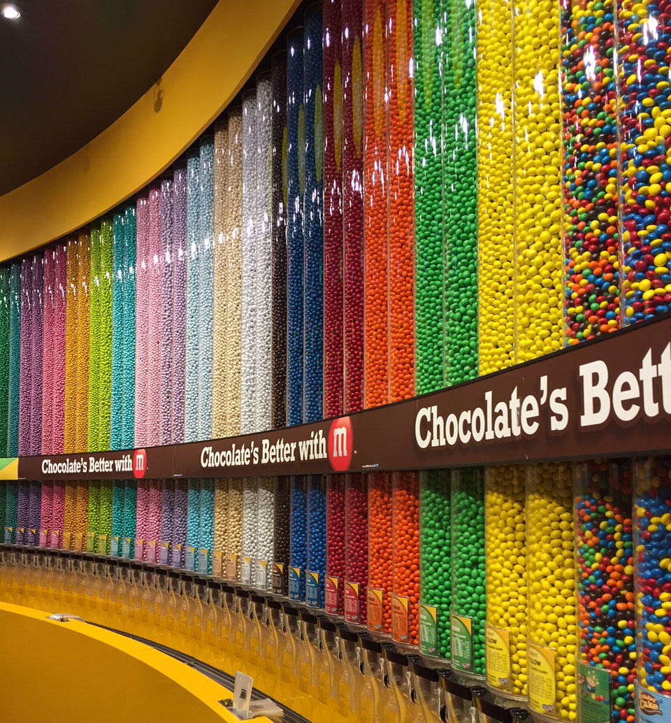 The rainbow wall at M&M's World, photo by Kristine McKenzie