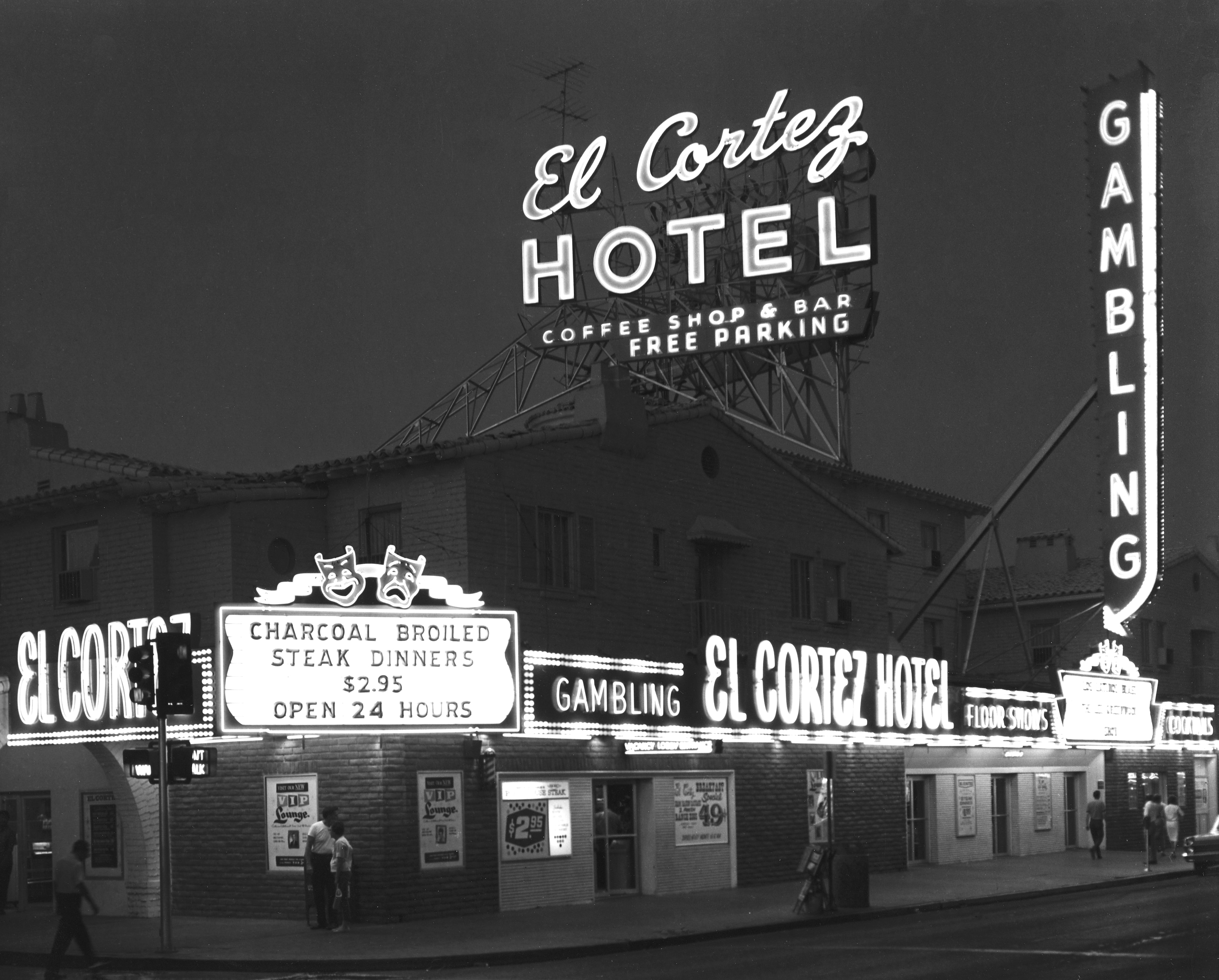 Exterior of the El Cortez in downtown Las Vegas 07/11/66. It looks more colorful now. Photo courtesy of El Cortez.