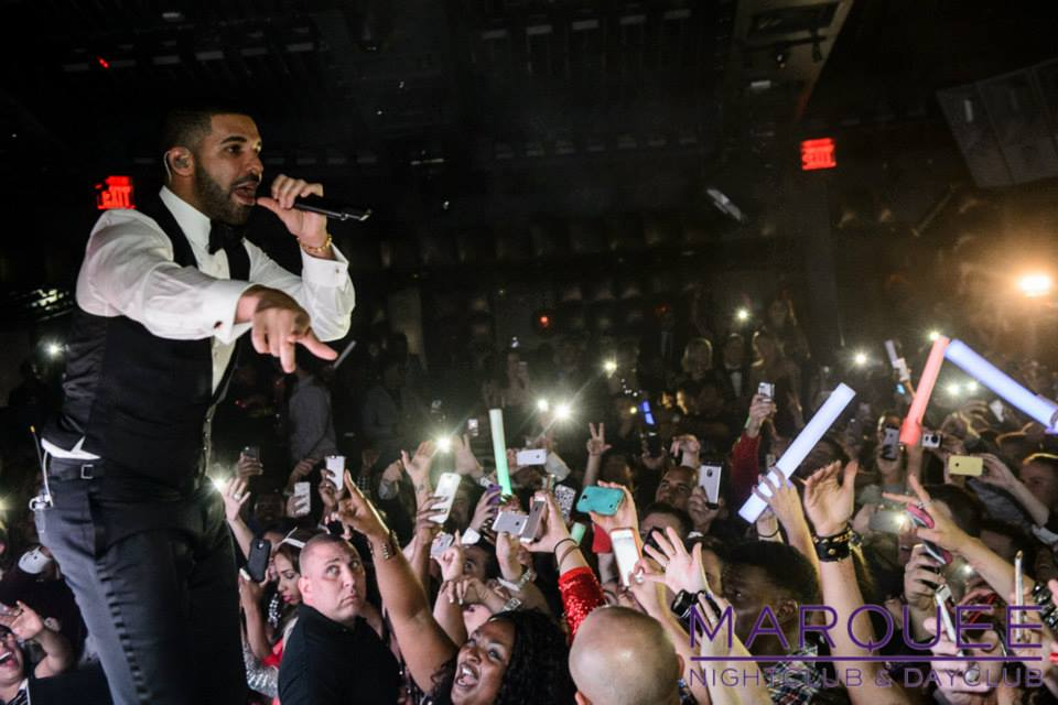 Drake at Marquee NYE 2015. Photo courtesy of Marquee Nightclub.