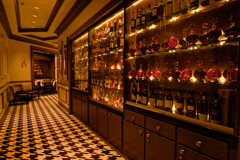 Chef André Rochat's Armagnac and Cognac collection, photo courtesy of Andre's