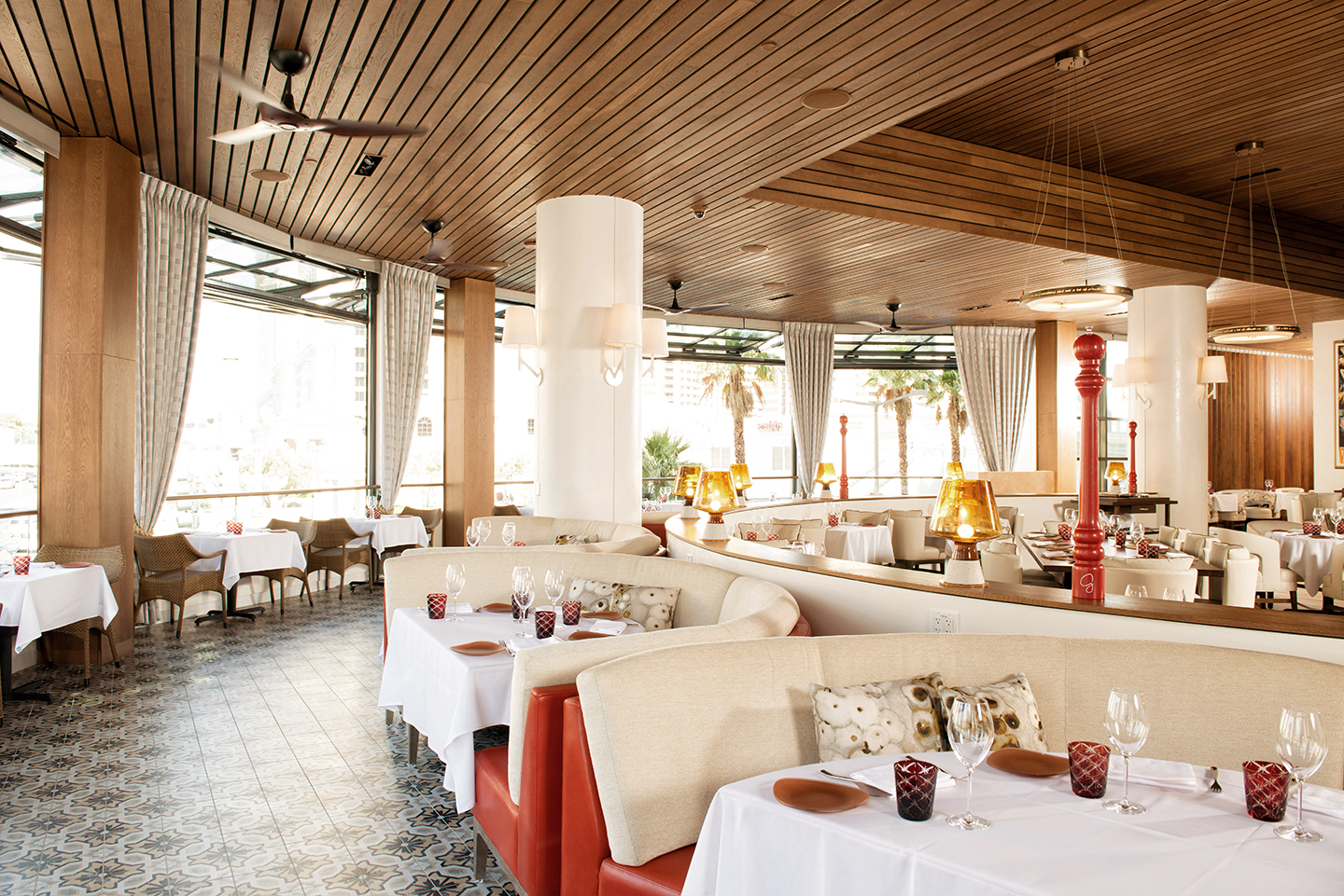 Giada at The Cromwell offers beautiful views from retractable windows in the dining room. Photo courtesy of Caesars Entertainment