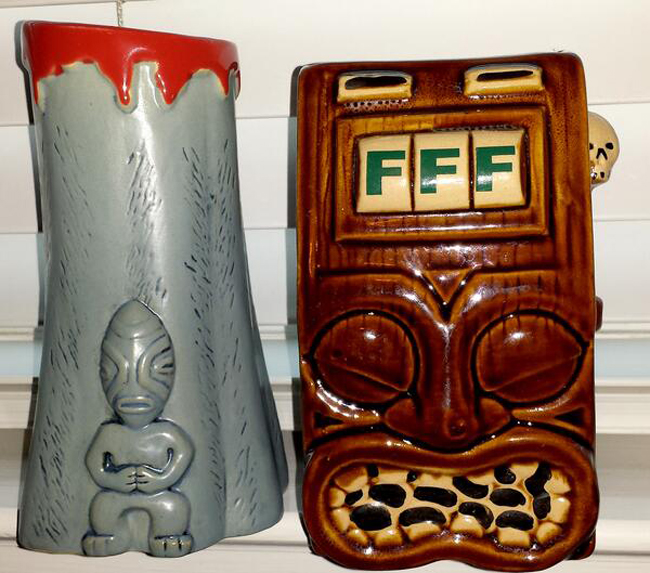 Some of the mug options. We'd say get them all, but we can't advocate drinking that much, no matter how much we want to. Photo courtesy of Frankie's Tiki Room.